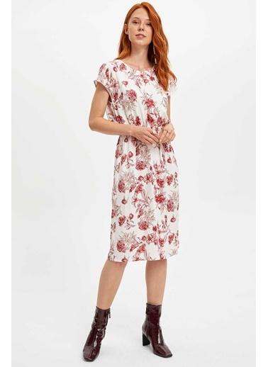 DeFacto Baskılı Kolsuz Elbise Bordo